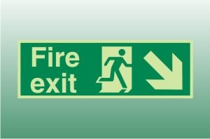 Photoluminescent Fire Exit Sign Down Right